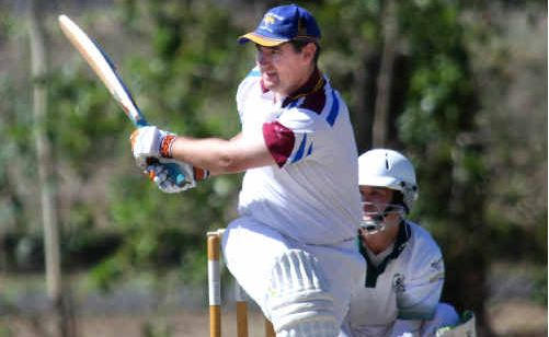 Classy Norths Tigers batsman Adam Matthews thrashes one of the 19 fours he scored against Frenchville on Saturday during his innings of 156 runs.
