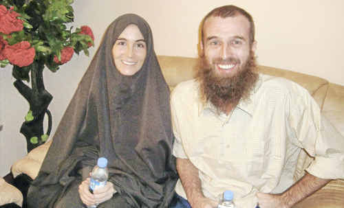 Journalists Amanda Lindhout and Nigel Brennan, after their release from captivity.