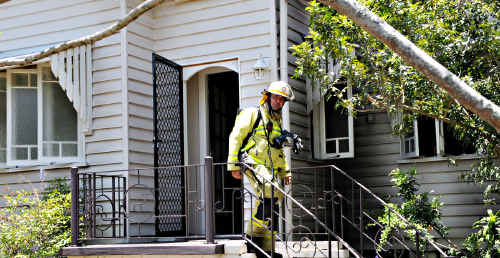 Neighbours, passers-by and an off-duty fire fighter helped extinguish a fire at this Stewart Terrace home before the fire could take hold.