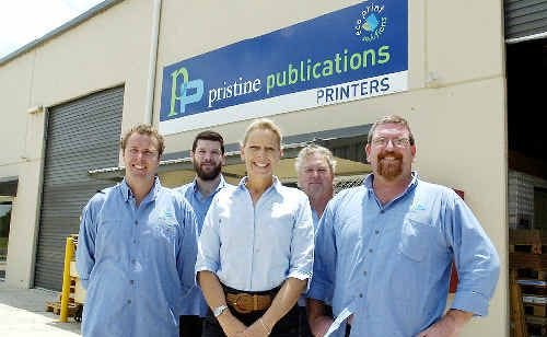 Celebrating Pristine Publications' bronze medal in the NSW Print Excellence Awards are (from left) John Stebbing, Aiden McBurney, Karen Leanne, Brett Simpson and Mark Ezzy.