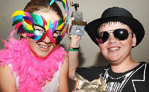 Goonellabah Public School Year 6 students Georgia Knight,11 and Dylan Butcher,12 won an award for Best Original Soulful Short Movie at a ceremony in the Star Court Theatre. The golden shoes were very symbolic in their film.