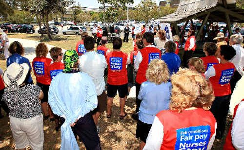 Nurses rallied outside The Tweed Hospital yesterday to protest huge budget cuts and job losses.
