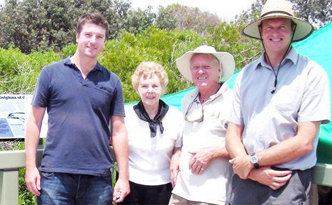 PLAQUES UNVEILED: At the unveiling of interpretative panels at Flat Rock last week (from left) Cr Jeff Johnson, co-founder of Angels Beach Dune Care Shirley White, Dr Lee Andresen from Ballina Coastcare Inc, and Ballina Shire Council's natural resources extension officer, James Brideson.