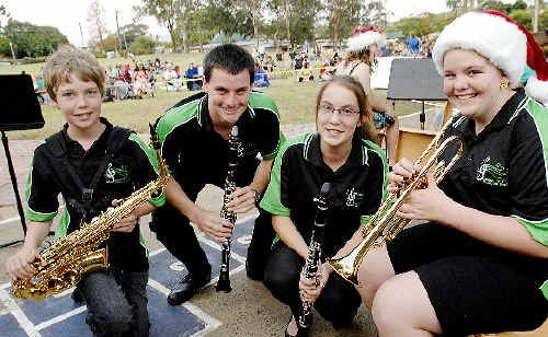 Lismore DET extension band members James Van Denbogert (left), 13, Kurtis Wyatt, 15, Jessica Weeks, 15, and Teagan Brownrigg, 15, will perform at Carols by Candlelight in Lismore.