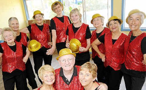 Rehearsing for today's U3A Christmas luncheon at the Ballina RSL Club are Fun-damental Tap Dancers members (front, from left) Angie Frederiksen, Ted Jepson and Lea Knudson, with the rest of the crew behind them.