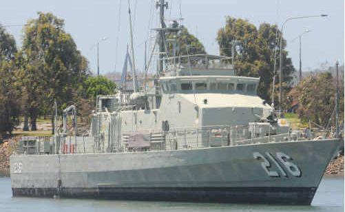 The former patrol boat HMAS Gladstone at its temporary mooring near the mouth of the Gladstone Marina.