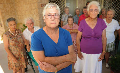 Sylvia Cook and other residents of Village Life in Caloundra are worried they will be forced out of their homes after the complex is taken over.