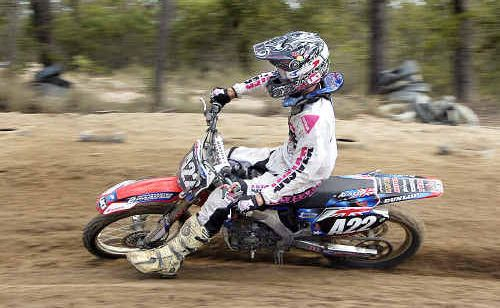 Nathan Delfs whizzes by in the clubman lites event.