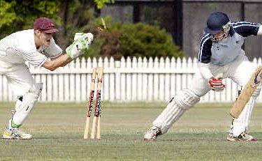 Ballina Bears batsman Aaron Jeal narrowly escapes being stumped by Tintenbar-East Ballina wicketkeeper Scott Hogden at Fripp Oval, Ballina, on Saturday.