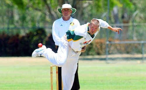 Gracemere captain Michael Harth doesn't shirk from his bowling responsibility sending down another delivery against Brothers on Saturday.