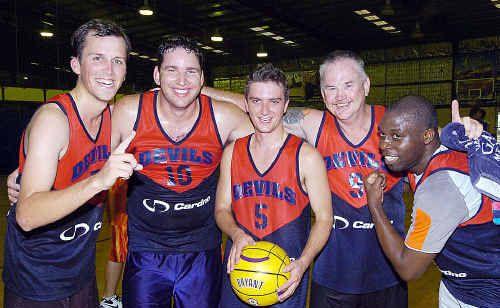 The Devils, (from left) Matt Elson, Mark Read, Adam Van Den Born, Rob Newman and Jide Fawole, won the B grade final.
