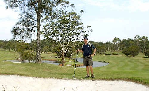 Byron Bay Golf Club course superintendent Shaun Cross is putting in the hard yards for this week's PGA Seniors tournament.