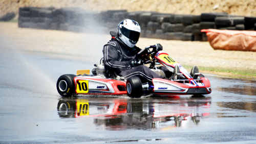 Jason Sherwell tries to regain control of his kart as he becomes a victim to the dampened track.