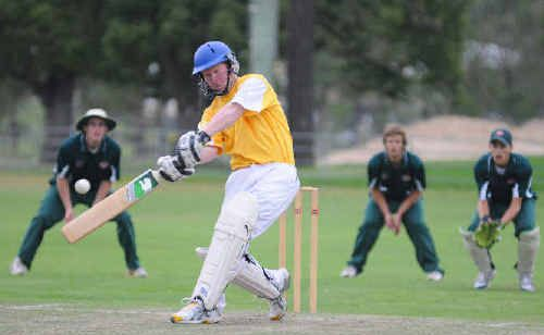 Westlawn's Brad Inmon plays a pull shot during his innings of 13 against Easts on Monday night.
