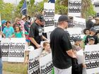 North Goonyella miners protest outside Peabody Energy Australia's Mackay office yesterday.