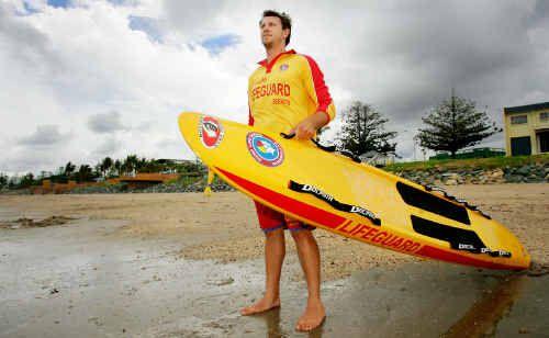 Yeppoon lifeguard Ben Waddell keeps watch over Queensland's cleanest beach, Yeppoon Main Beach.