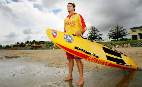 Yeppoon lifeguard Ben Waddell keeps watch over Queensland's cleanest beach, Yeppoon Main Beach.