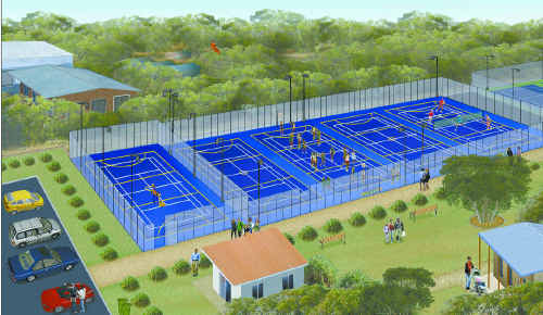An artist's impression of the $535,728 international standard netball and tennis courts at the Cooee Bay Sports Complex.