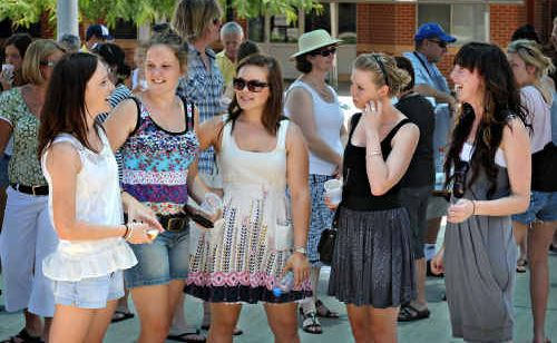 Courtney Dougherty, Katherine Richardson, Raywyn McBay, Sarah Stewart and Lauren Priest get together for a catch-up barbecue at McAuley Catholic College after results from their HSC were released yesterday.