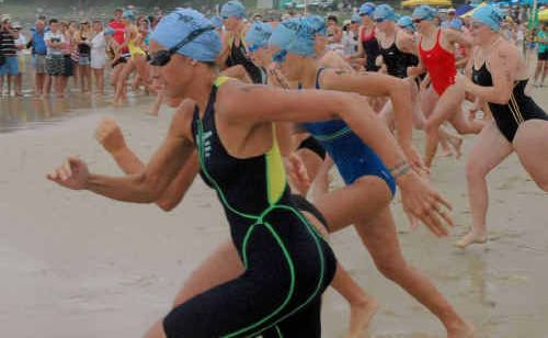 Hayley Lewis at the start of the 2008 2km ocean swim.