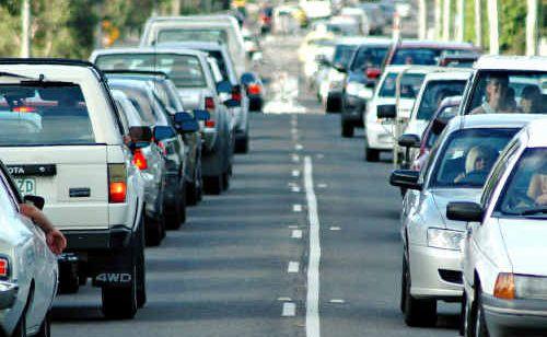 Traffic congestion during peak hour on Sugar Road, Maroochydore.