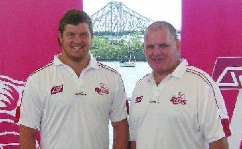 Queensland Reds' Greg Holmes and Reds coach Ewan McKenzie