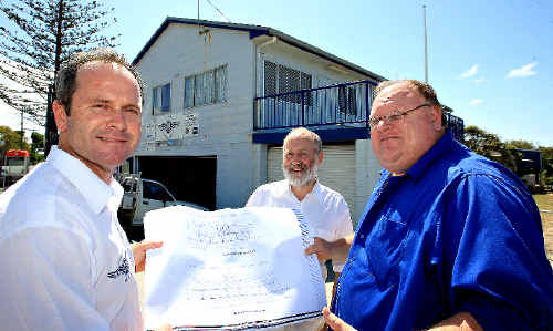 Holding the plans for the clubhouse upgrade are Brian Kenny, Douglas Jardine and Andrew Chubb.