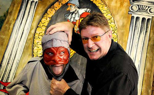 Tony Kishawi (right) and actor Ben Cornfoot ham it up at the launch of the Australasian Commedia dell'Arte Festival to be held in Gympie in May.