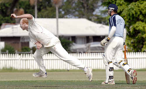 Lucas Wagland in action with the ball for Tintenbar-East Ballina against Ballina Bears at Fripp Oval last Saturday. The Bears batsman at the non-striker's end is Aaron Jeal. Bears won.