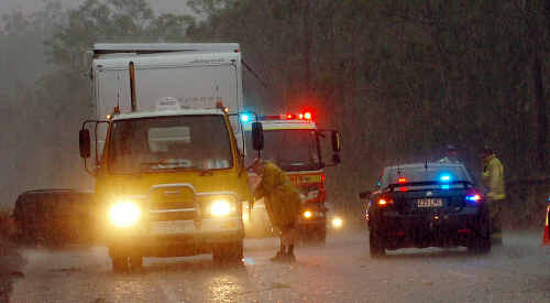 Traffic on the Bruce Highway was reduced to one lane after the first of yesterday's crashes.
