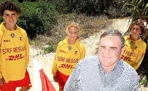 Tweed Mayor Warren Polglase, with Kingscliff nippers Luke Spence 15, Ashlee Spence, 13 and Jordan Carter, 15 at the announcement of major new sporting events yesterday.