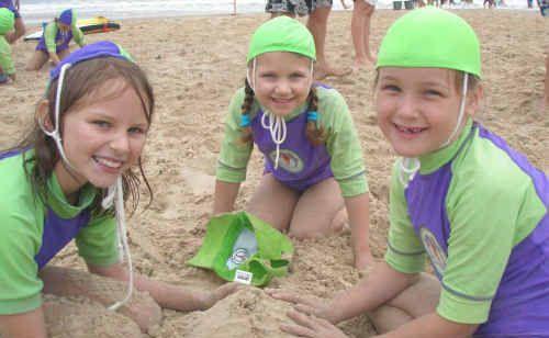 Minnie Water Wooli nippers Rachel, Mia and Zoe making the most of a break in the rain.