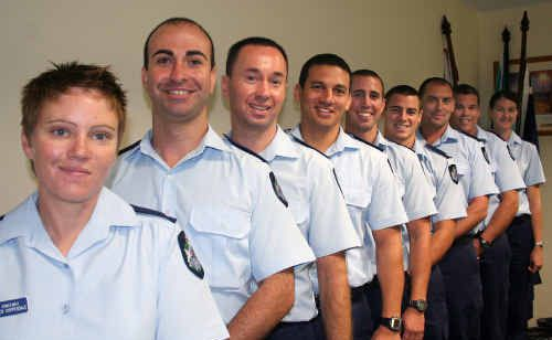 First-year constables Beck Chippendale, Aydin Ozden, Shaun Bartley, Clint Du Sart, Glen Warren, Blake Sullivan, Anthony Stratton, Clayton Callaghan and Cara Danello start their first shift as police officers on Christmas Day.