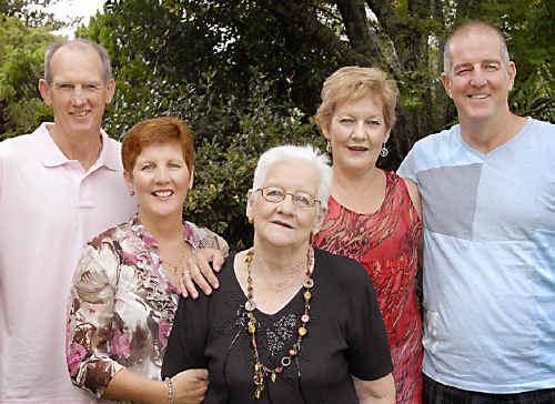 Enjoying a family gathering at Weis Restaurant in Toowoomba yesterday are Patsy Bennett (centre) with her children (from left) Wayne Bennett, Greta Blom, Michelle Rock and Bob Bennett.