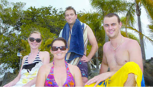 Enjoying their stay at Burrum Heads Caravan Park for a week are Beth Caughey (left) and John Reece (back) from Gladstone with friends Leah Hobbs and Phillip Young from Brisbane.