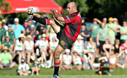 Nambour rugby union veteran Stu Greensill digs deep during the 2007 grand final loss to University.