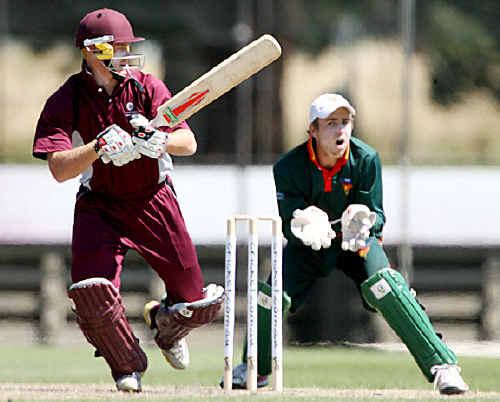 Former Toowoomba cricketer Chris Sabburg bats for the Queensland Second XI.