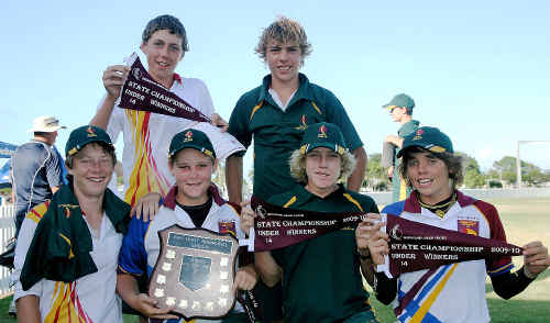 TWEED'S junior cricketers from the victorious South-East Queensland representative team are clockwise, from top left, Mitchell Dempsey, Sam Judd and Jakob Hughes (all from South Tweed Colts), Trent Arnold and Jesse Harrington (from Cudgen) and Tom Byrnes (from Murwillumbah).