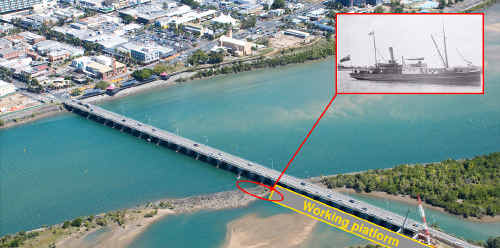 The site of the wreck of the Brinawarr (inset) under Forgan Bridge; the Brinawarr leaves a Pioneer River wharf at the start of World War I; the vessel swept into the Sydney Street Bridge, now the site of the Forgan Bridge, during the 1918 cyclone and sank; these ornate dragon legs are among the artefacts recovered from the wreck; and a compass which was also found on the wreck and has been taken to the Maritime Museum in Townsville with other salvaged items.
