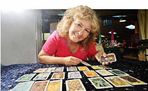 Psychic Gabriele Mair does tarot card reading at the Psychic Expo at the Big Pineapple.