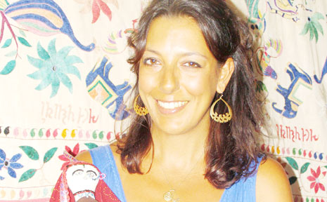 Veda Dante, one half of on-line ethical business Little Gypsies, with traditional Indian doll.