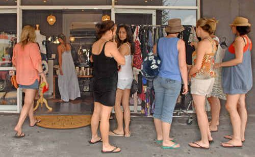Shoppers flock to Yamba for post-Christmas shopping.