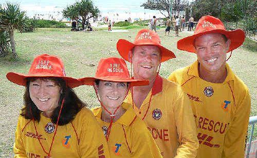 Lifesavers from Evans Head Casino Surf Lifesaving Club, Wendy Roberts, Judy Robson, Craig Ellis and Mick Robson.
