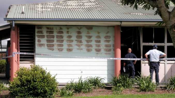 Classrooms were destroyed in a suspected arson attack at Narangba Valley High School this morning. Photo: Sheree Echlin/Caboolture News