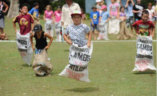 Winning his sack race in leaps and bounds is Ji Thompson, 8, of Mudgee