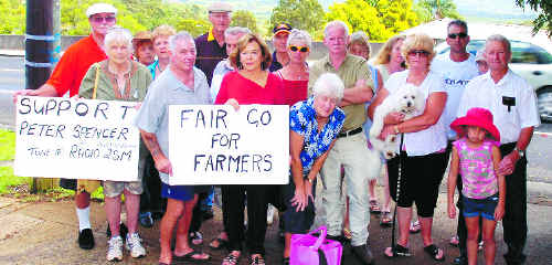 Goonellabah resident Jimmy Harvie (front row, second from left) and Anne Thompson, of Eltham (third from left), are joined by the other Northern Rivers residents who have travelled south to show their support for Cooma district farmer Peter Spencer, who is on a hunger strike.