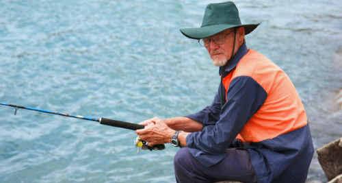 Peter Howard, of Brisbane, tries his luck on the Wooli breakwall.