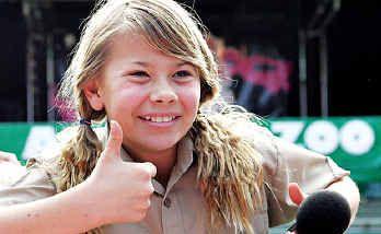 Bindi Irwin greets the crowd at Australia Zoo on her 11th birthday.