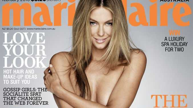 The February cover of Marie Claire magazine shows Jennifer Hawkins naked and