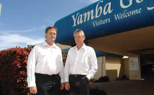 Yamba Golf and County Club president Jim Kelly and general manager Greg Acret are 'getting the ball rolling' for 24-hour policing in Yamba.